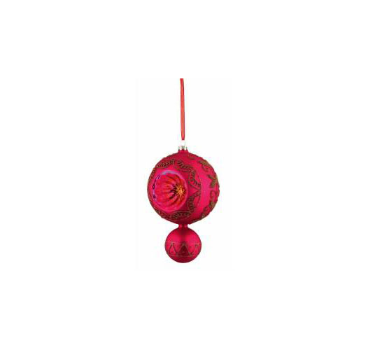 HOT PINK GLASS DROP ORNAMENT