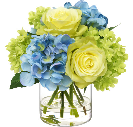 BLOOMS BLUE AND GREEN BOUQUET