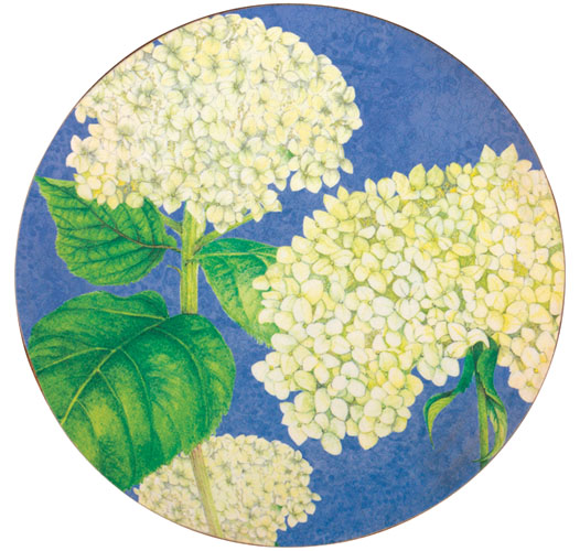 ROCK FLOWER PAPER WHITE HYDRANGEA ROUND COASTER SET