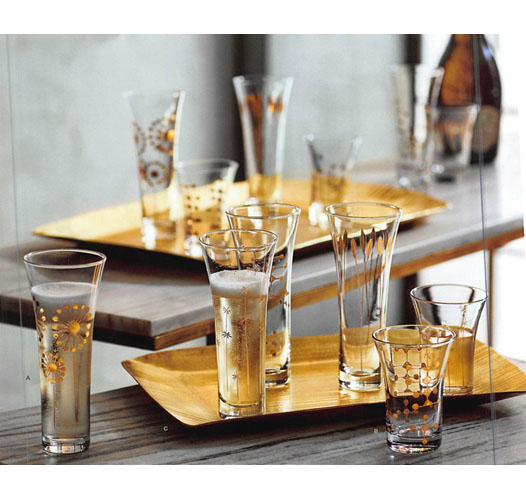 ROOST GOLD ETCHED CHAMPAGNE GLASSES / SET OF 4