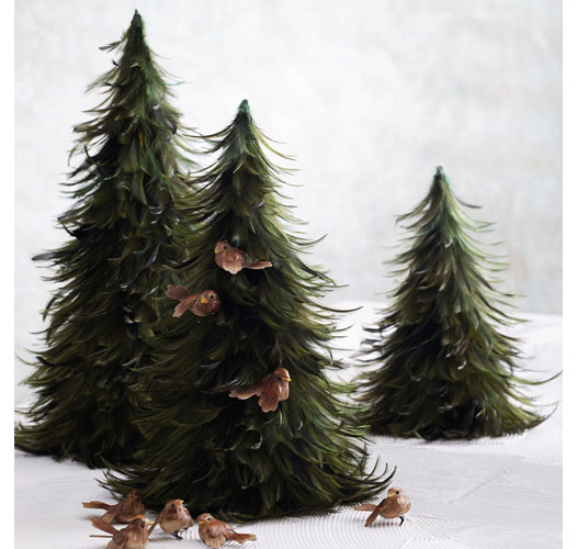 ROOST GREEN FEATHER TREES / SET OF 3