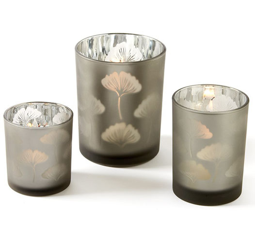 TOZAI GINGKO LEAF GLASS CANDLEHOLDERS / SET OF 3