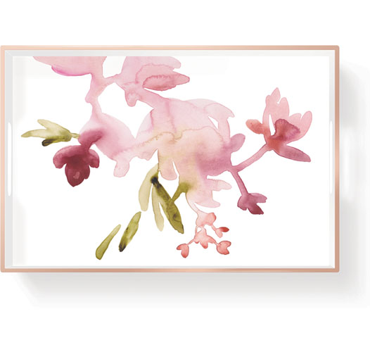 FRINGE STUDIO SMALL LACQUERED WATERCOLOR FLORAL TRAY