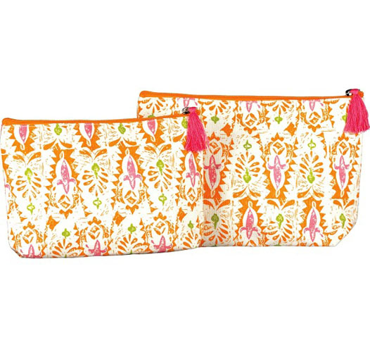 ROCK FLOWER PAPER ZARA ORANGE COSMETIC BAGS