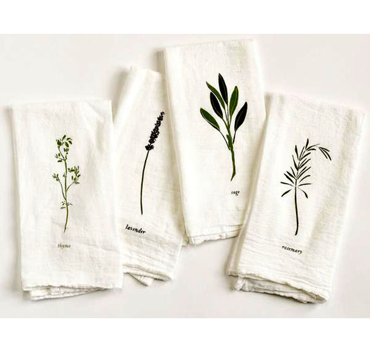 JUNE & DECEMBER GARDEN HERBS NAPKINS / SET OF 4