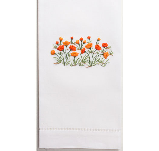 HENRY HANDWORK POPPIES GUEST TOWEL