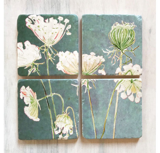 INDIA & PURRY QUEEN ANNE'S LACE COASTERS / SET OF 4