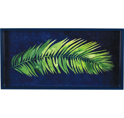 ROCK FLOWER PAPER INDIGO PALM FRONDS TRAY