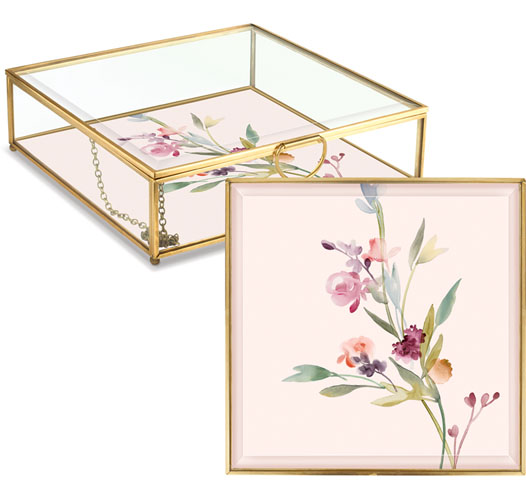FRINGE STUDIO LARGE GARLAND FLORAL GLASS BOX