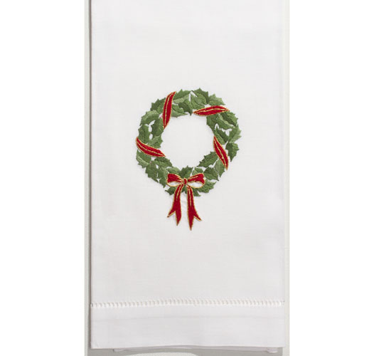 HENRY HANDWORK HOLLY RIBBON WREATH GUEST TOWEL