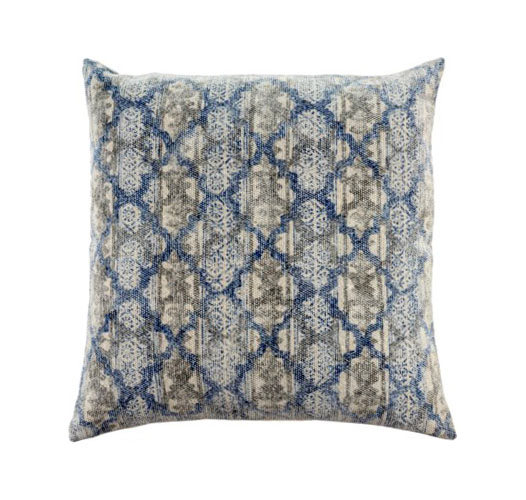 INDABA STONEWASHED BLUE AND GRAY COTTON PILLOW