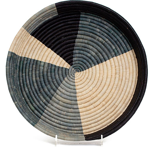 KAZI OPAL GRAY COLOR BLOCKED RAFFIA TRAY