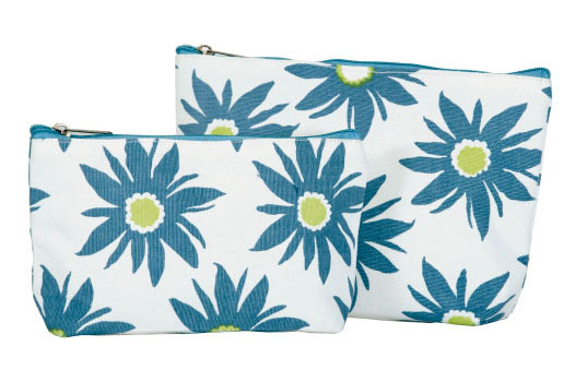 ROCK FLOWER PAPER DAISY AZURE ZIP BAGS / SET OF 2