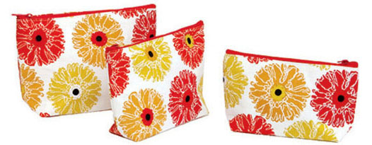 GERBER DAISY ZIP BAGS / SET OF 3