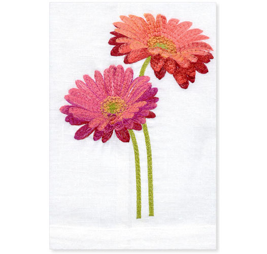 RED GERBERA GUEST TOWEL