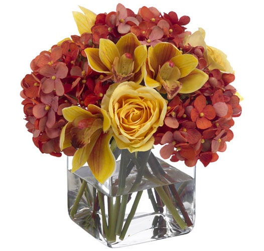 FALL CYMBIDIUM AND HYDRANGEA BOUQUET