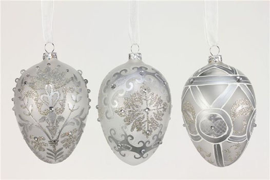 SILVER AND WHITE GLITTER EGG ORNAMENTS