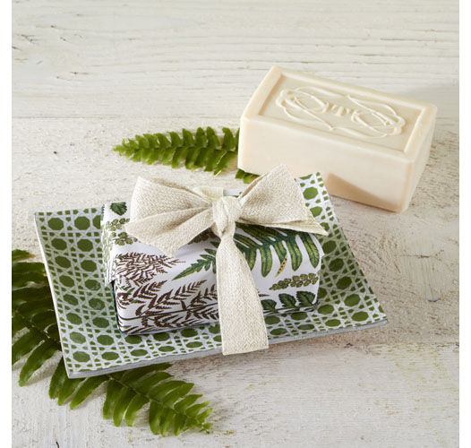 TWO'S COMPANY FERNS SOAP WITH GLASS TRAY